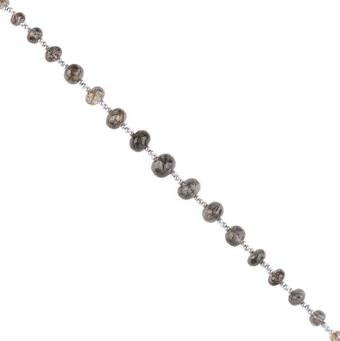 42cts Black Rutile Graduated Faceted Rondelles Approx 3x2 to 9x7mm, 16cm Strand.