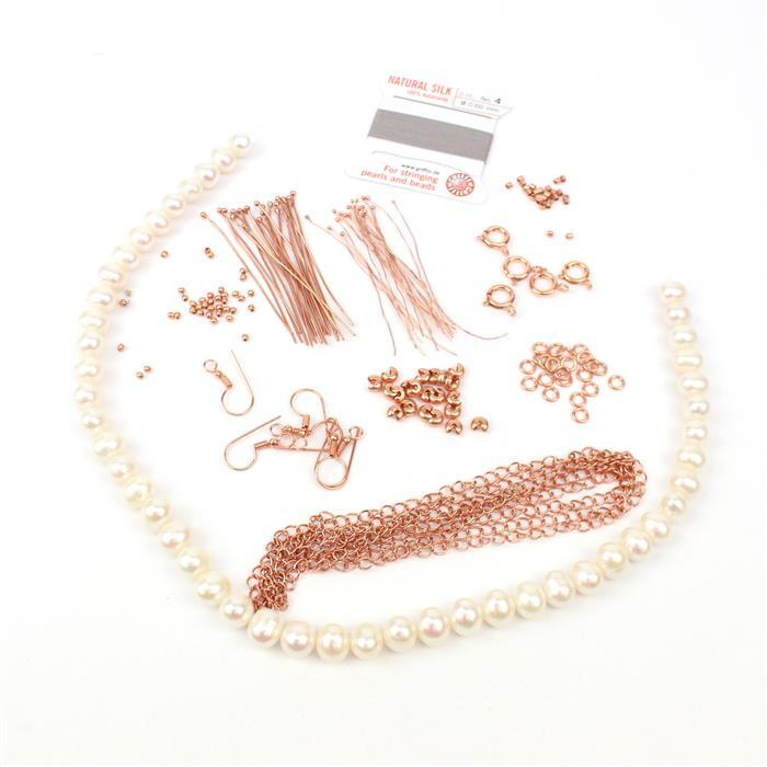 Vanilla:White Freshwater Near Round Pearls, rose gold plt findings pack (150 pcs) & thread
