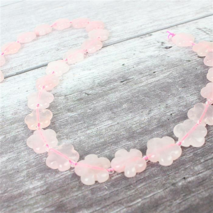 210cts Rose Quartz Five-Petal Flower Appox 15mm, 27pcs/strand