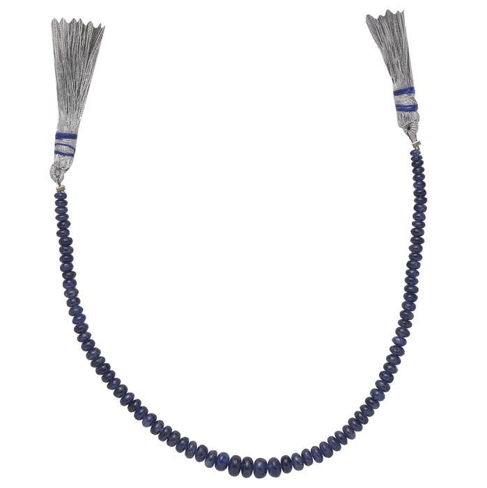 40cts Blue Sapphire Graduated Plain Rondelles Approx From 2x1 to 5x3mm, 19cm Strand.
