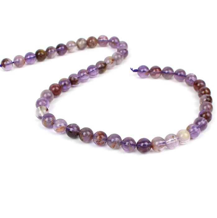 150cts Amethyst Phantom Quartz Plain Rounds Approx 8mm, 38cm strand