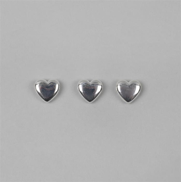 925 Sterling Silver Heart Charm Approx 10mm, 3pcs
