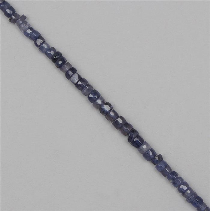 50cts Iolite Graduated Faceted Wheels Approx 3x2 to 5x2mm, 28cm Strand.