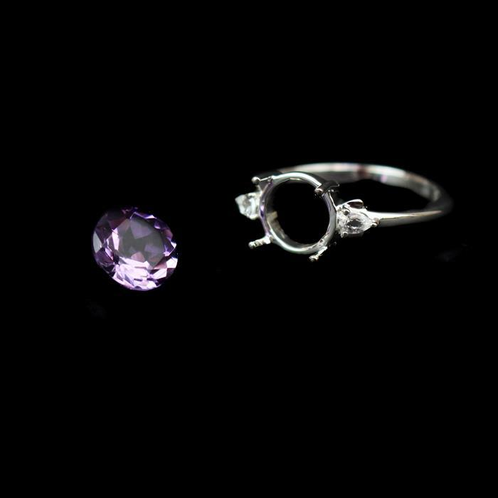 Sz 7 925 Sterling Silver Ring Round Mount Inc. Topaz & 1.50cts Amethyst Brilliant Cut 8mm