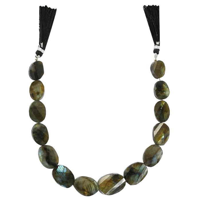 240cts Labradorite Graduated Twisted Faceted Ovals Approx 12x8 to 30x18mm, 36cm Strand.