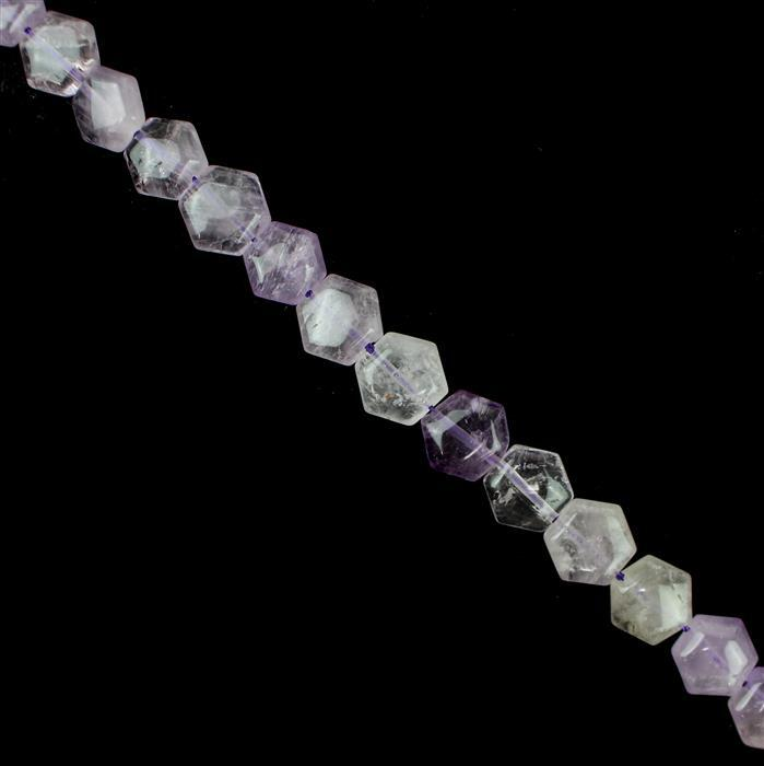 140cts Lavender Amethyst Hexagons Approx 11x10mm, 38cm Strand