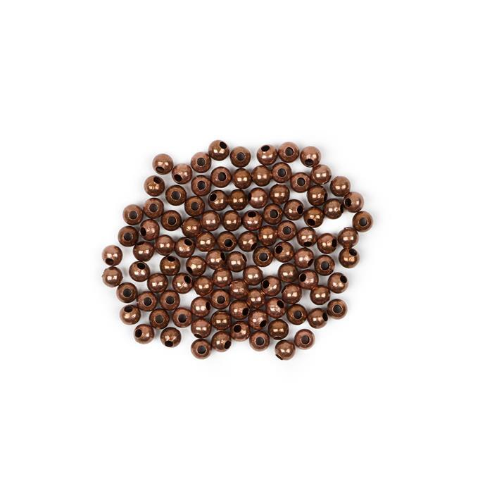 Antique Bronze Plated Brass Round Beads - 3mm (100pcs/pk)