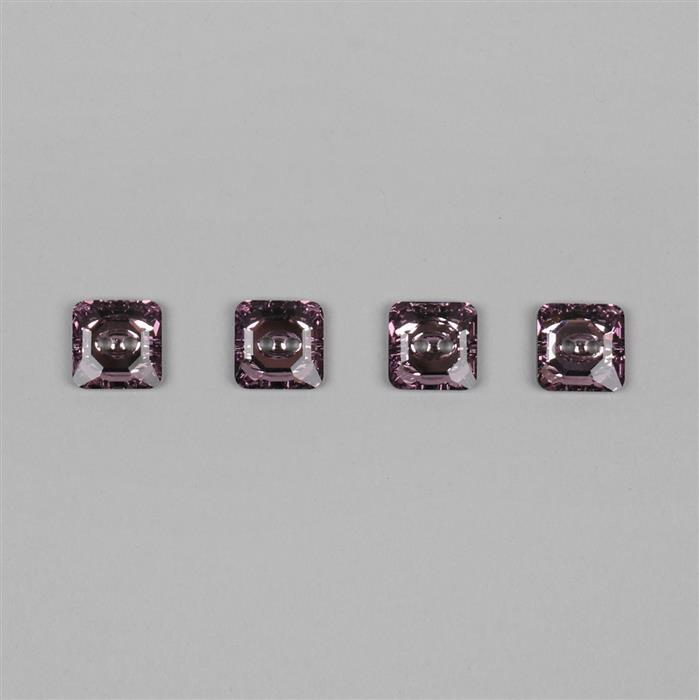 Swarovski Light Amethyst F Square Sew On Buttons - 12mm, 4pk
