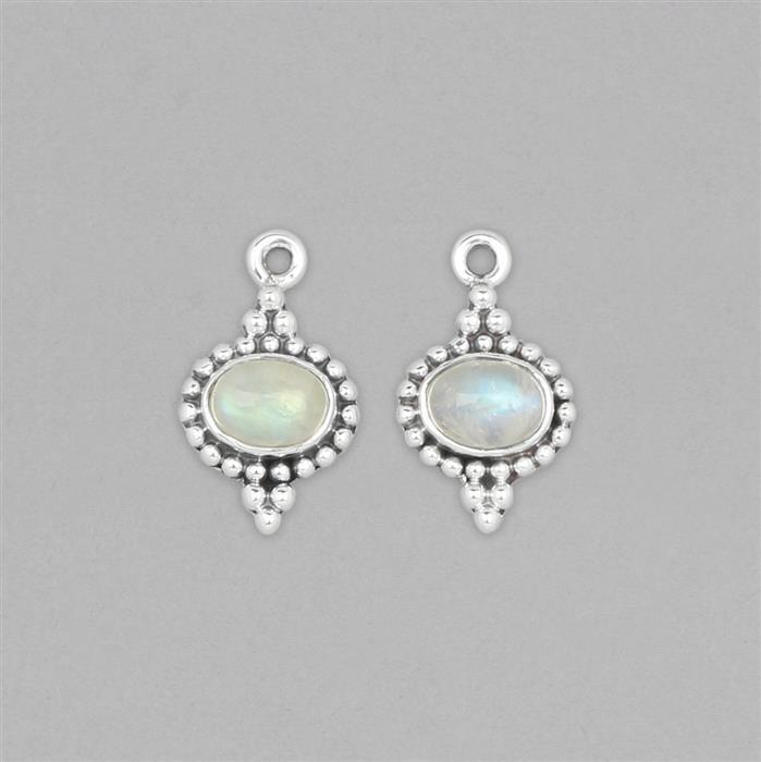 925 Sterling Silver Vintage Style Gemset Charms Approx 18x10mm Inc. 2cts Rainbow Moonstone Oval Cabochon Approx 7x5mm (2pcs)