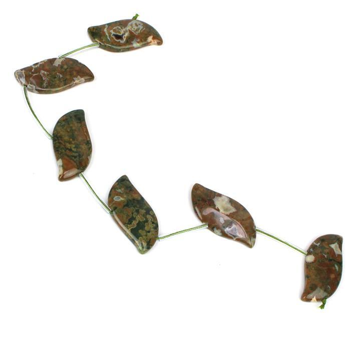 110cts Rhyolite Fancy Leaves 6pcs, Approx 18x35mm, 20cm