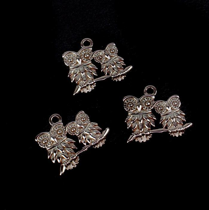 Rose Gold Plated 925 Sterling Silver Our Mommy & Baby Owl Charm 15mm 3pk