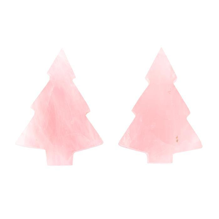 110cts Rose Quartz Plain Christmas Tree Shape Gemstones. Approx 30x42mm(Pack of 2)
