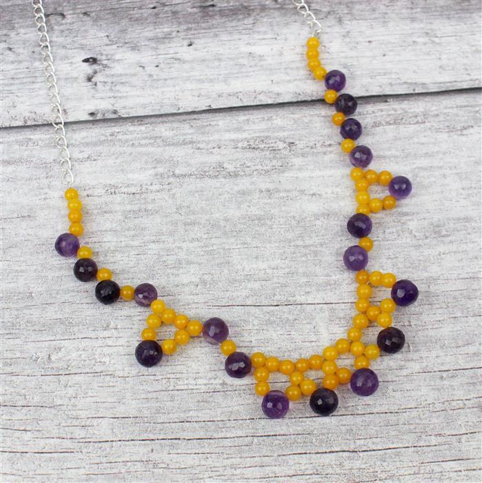 Golden Iris: 40cts Light Orange Quartzite, 100cts Amethyst, Findings & Threading Kit