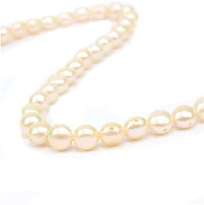 White Freshwater Cultured Button Pearls (Double Drilled Cross Over) Approx 7-8mm