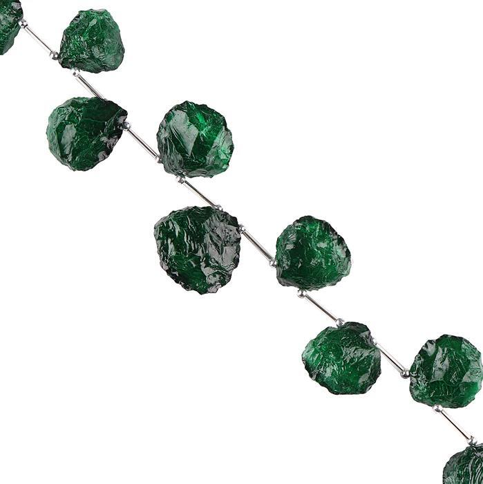 295cts Green Colour Coated Quartz Graduated Hammered Heart Shapes Approx 21 to 25mm, 20cm Strand.