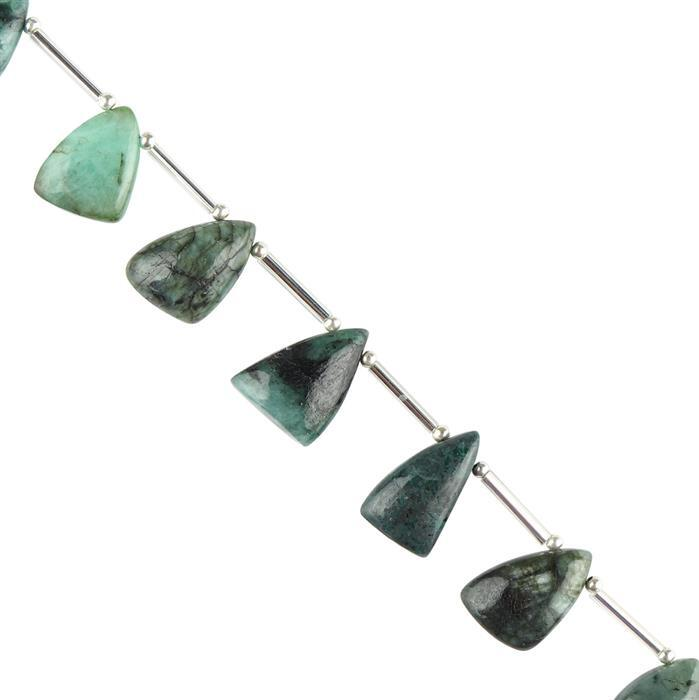 75cts Emerald Graduated Plain Puffy Slices Approx 14x10 to 18x11mm, 16cm Strand.