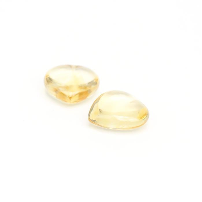 Double Trouble! 2x 11cts Citrine Plain Puffy Heart 16mm.