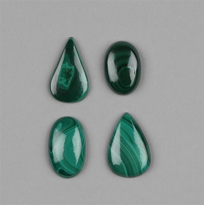 195cts Malachite Multi Shape Cabochons Assortment.