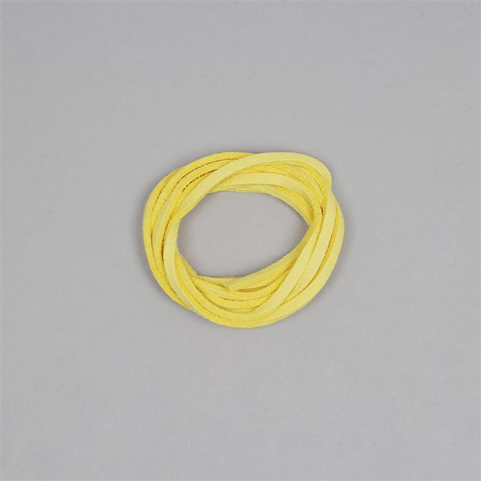 1M Yellow Leatherette Flat Cord Approx 2x1mm