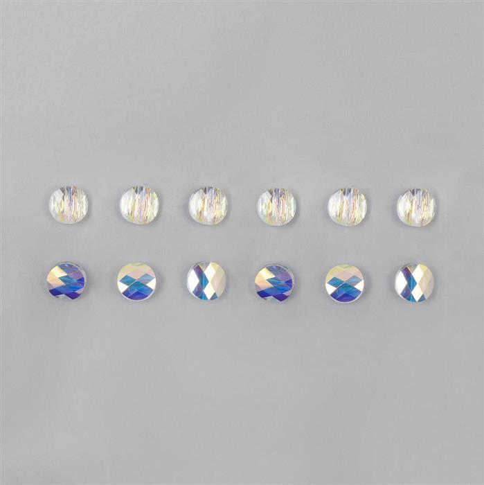 Swarovski AB Crystal Mini Flat Round Beads 8mm - 12pk