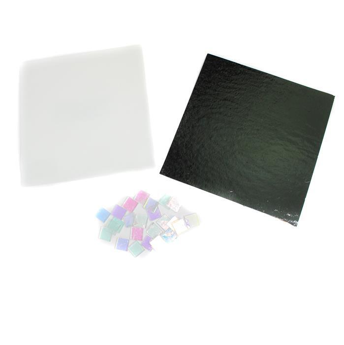 Iridescence INC Black & White Fusible Sheet Glass & Dichroic Fusible Chips