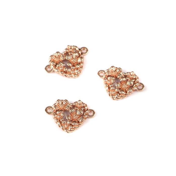 Rose Gold Plated 925 Sterling Silver Spring Heart Connectors Approx 9x13mm 3pcs