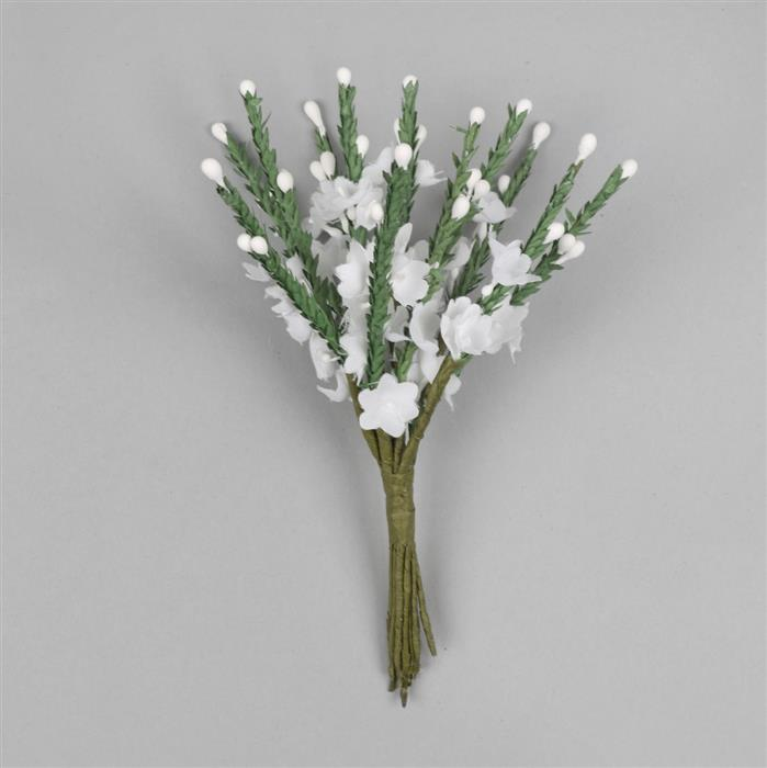 Faux White Heather Flower Bunch