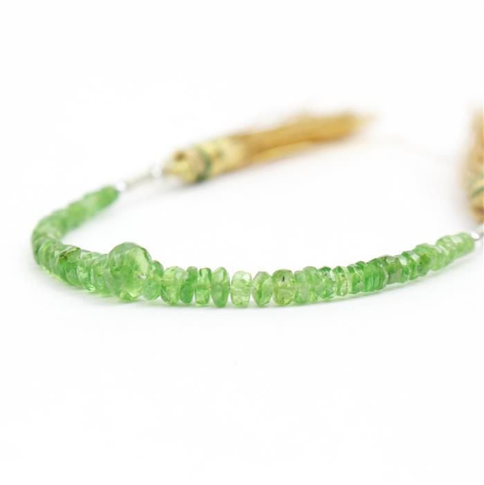 6cts Tsavorite Garnet Graduated Faceted Rondelles Approx 2x1 to 3x2mm, 8cm Strand.