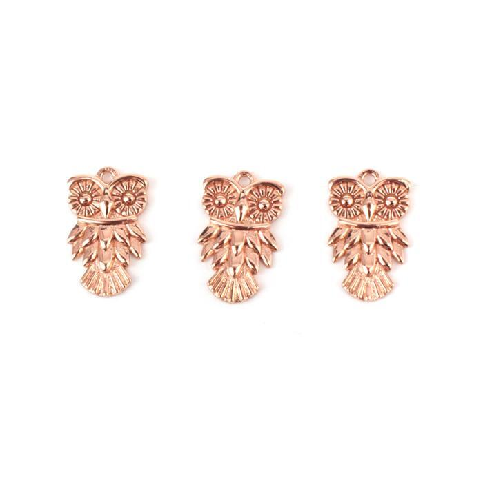Rose Gold Plated 925 Sterling Silver Owl Charms Approx 9x15mm 3pcs