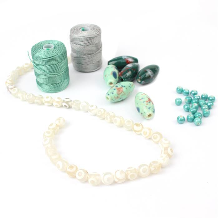 Minty Fresh:Turquoise 6mm round & mint & teal oval ceramic beads,triple eye agate rds,cord