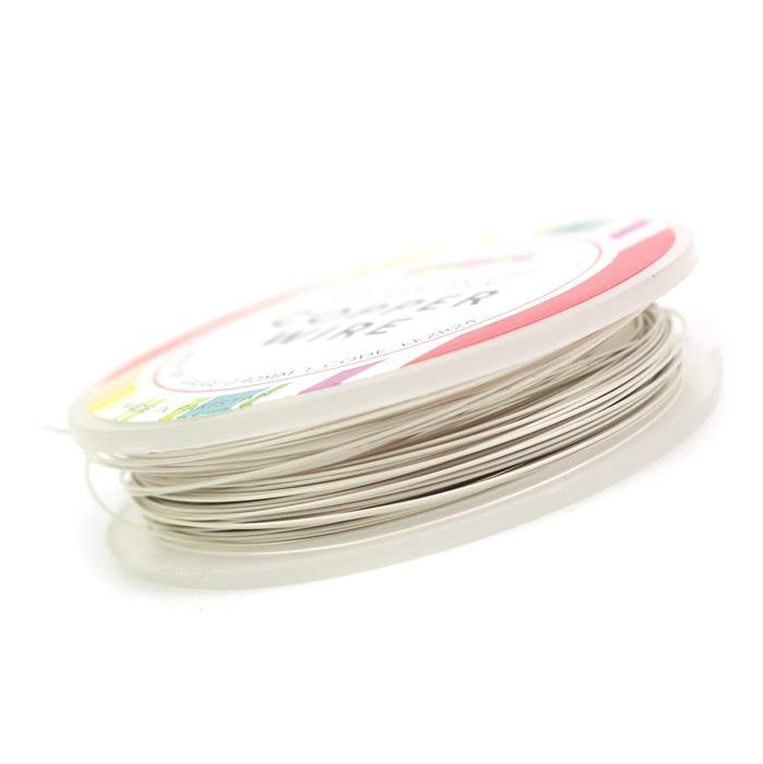 10m Silver Plated White Pastel Copper Wire 0.4mm