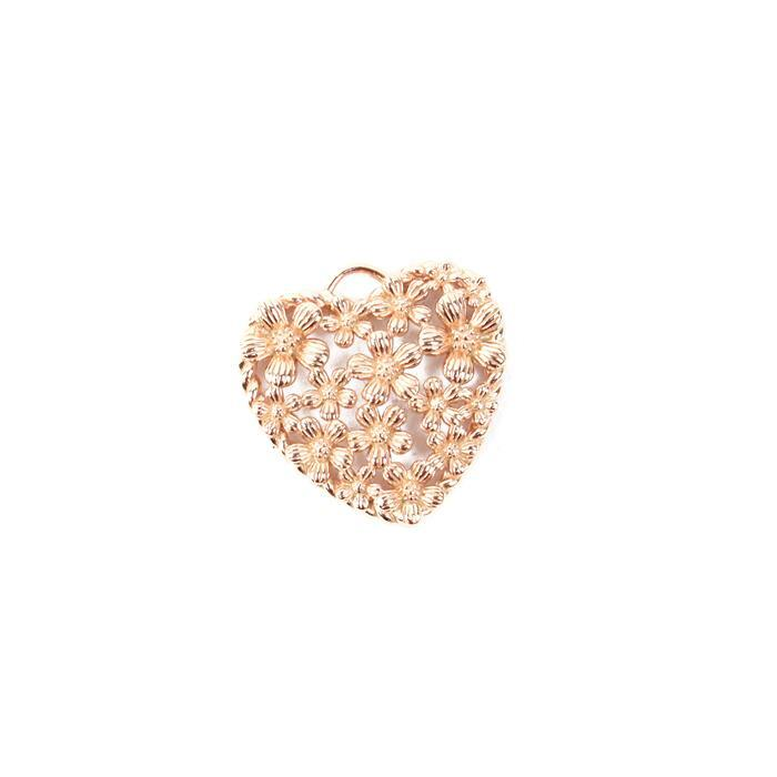 Rose Gold Plated 925 Sterling Silver Spring Heart Pendant Approx 20mm