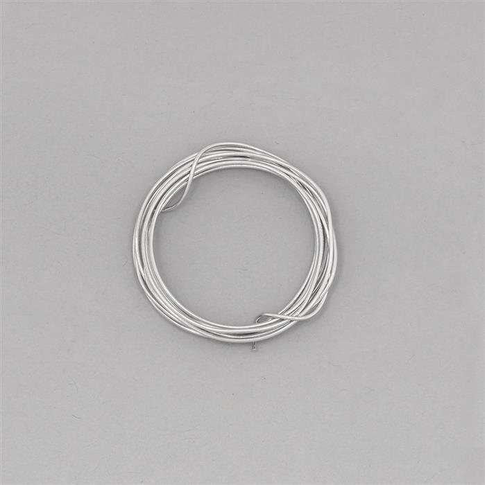 1m White Rhodium Plated 925 Sterling Silver Round Wire Approx 0.80mm