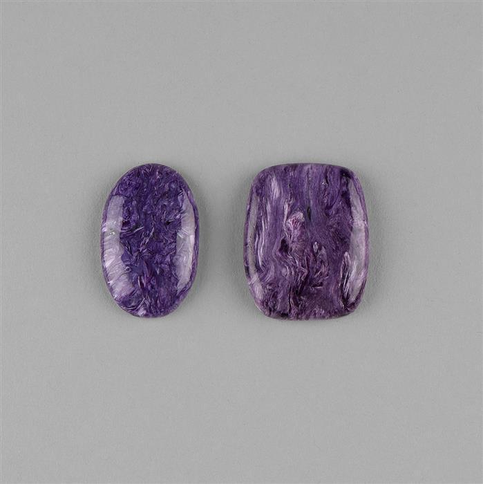 100cts Charoite Multi Shape Cabochons Assortment.