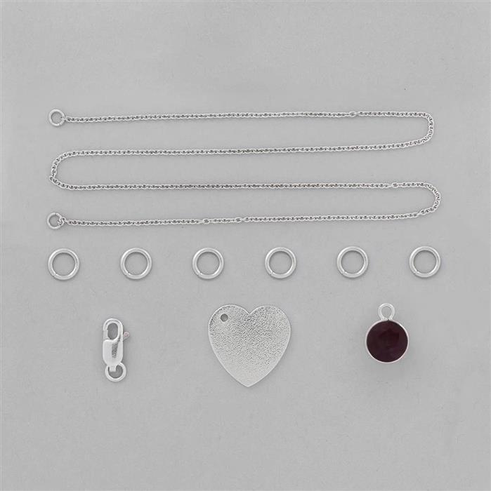 Birthstone Kit: 925 Sterling Silver Necklace Kit Inc. 2cts Ruby Brilliant Round 8mm (10 Pcs)
