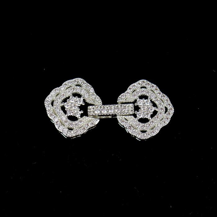 Vintage Silver Plated Base Metal CZ Clasp Approx 14x30mm (1pc)