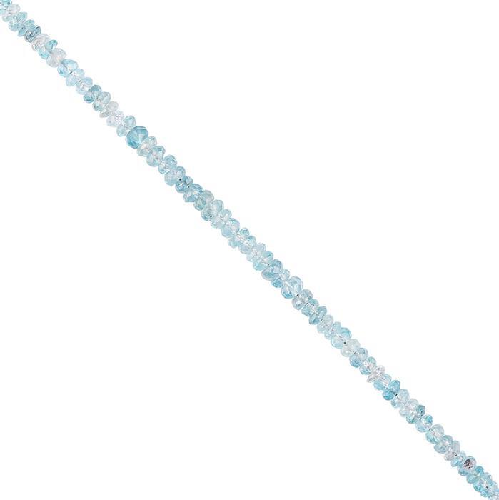 18cts Ratanakiri Blue Zircon Graduated Faceted Rondelles Approx 3x1 to 4x2mm, 10cm Strand.
