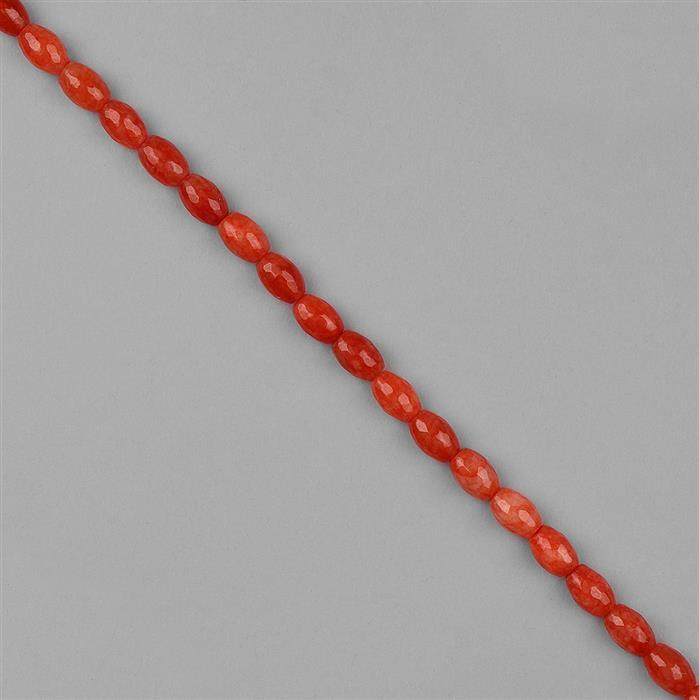 175cts Dyed Orange Quartz Faceted Barrels Approx 12x8mm, 36cm Strand.