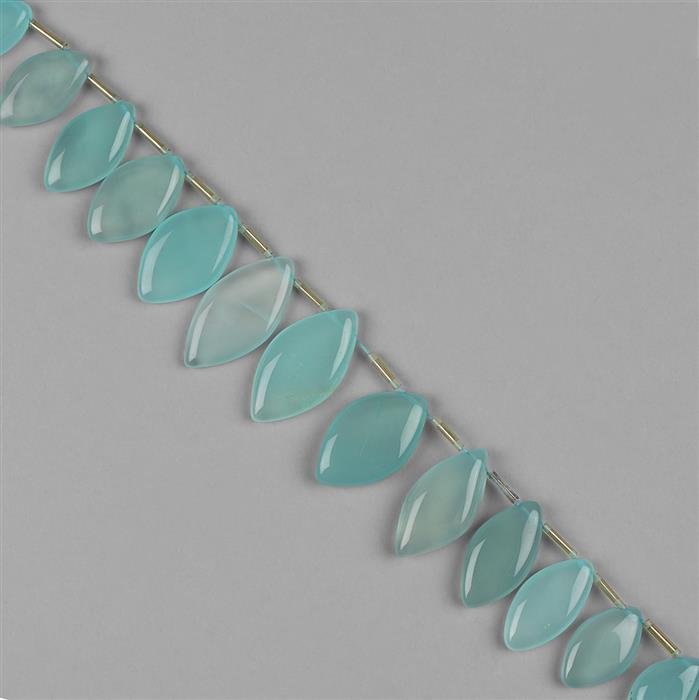 238cts Sea Blue Chalcedony Graduated Plain Marquises Approx 18x10 to 32x16mm, 18cm Strand.