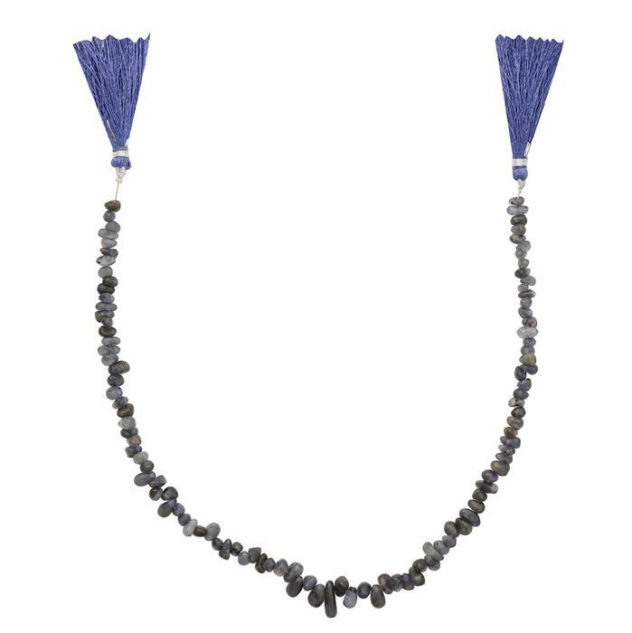 70cts Iolite Graduated Irregular Plain Drops Approx From 6x3 to 8x4mm, 29cm Strand.