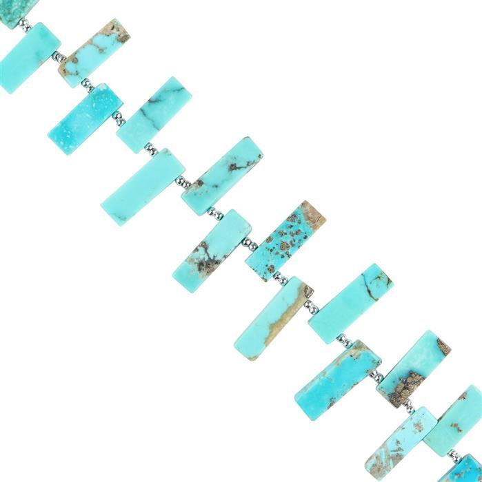 75cts Kingman Turquoise Graduated Plain Bars Approx 10x5 to 19x5mm, 16cm Strand.