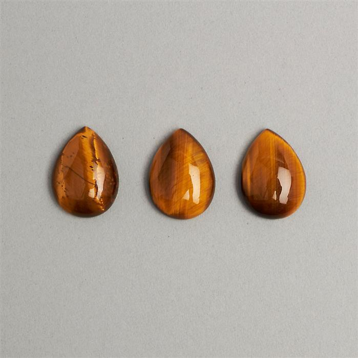 30ct Yellow Tigers Eye Pear Cabochons Approx 16x22mm 3pcs/set