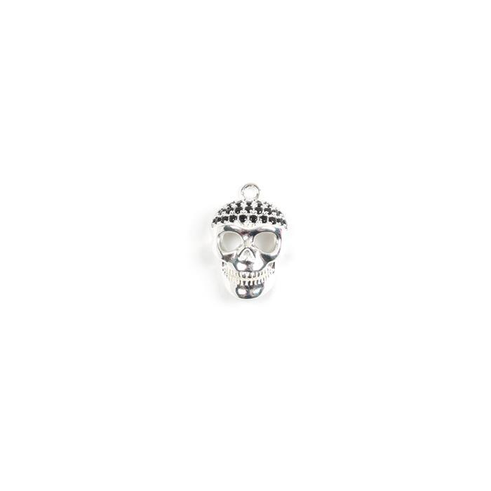 925 Sterling Silver and Black Cubic Zirconia Skull Pendant Approx 20x15mm, 1pk