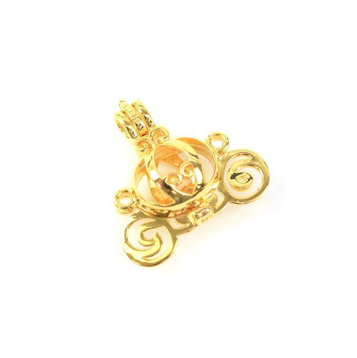 Gold Plated 925 Sterling Silver Princess Carriage Locket Pendant Approx 25mm, 1pcs