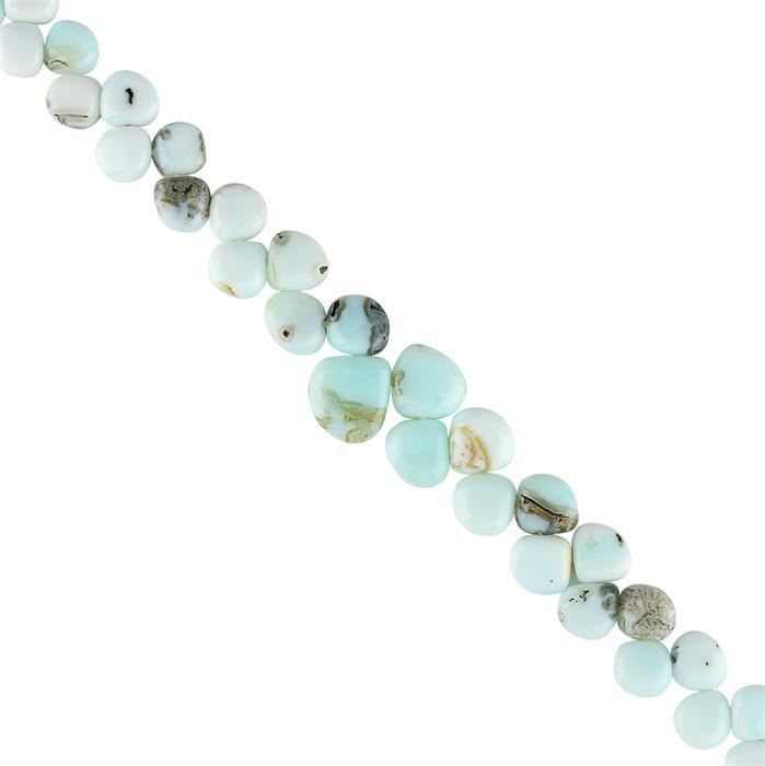 86cts Peruvian Opal Graduated Plain Flat Drops Approx 6 to 12mm, 18cm Strand.