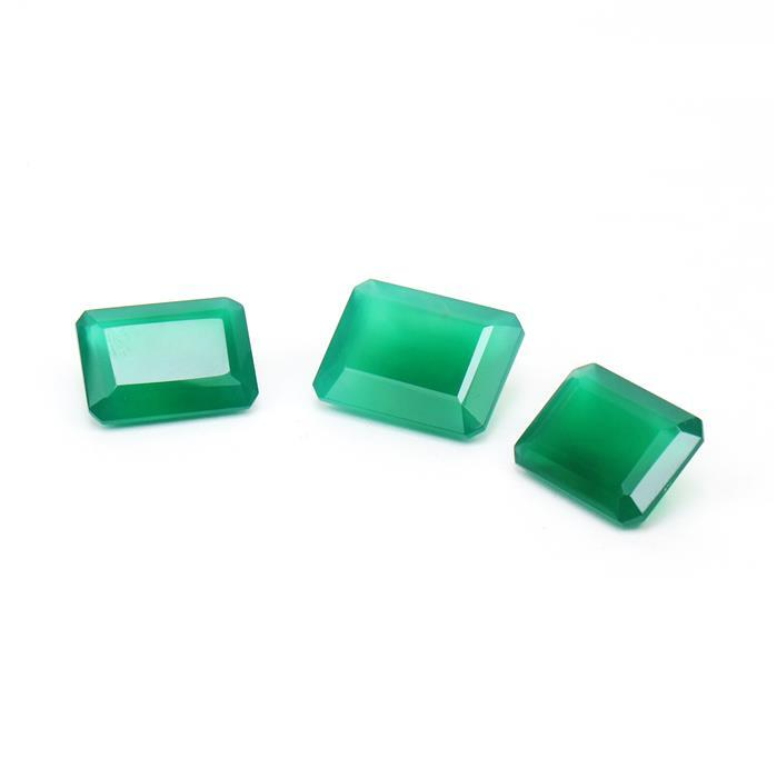 44cts Green Onyx Step Cut Octagons 18x13mm (2pcs) and 20x15mm (1pc).