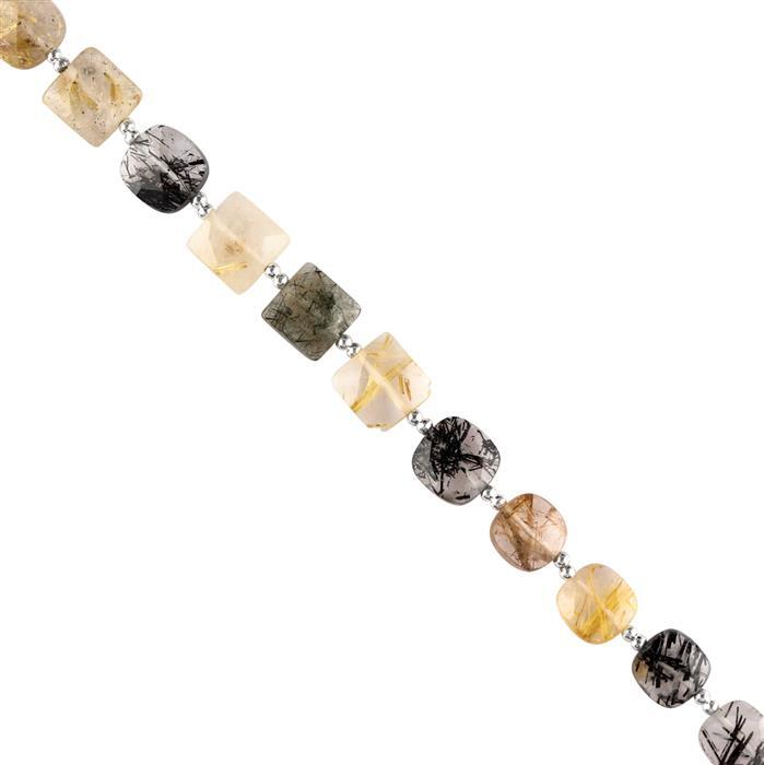 40cts Multi Colour Rutile Quartz Graduated Faceted Squares Approx 8 to 9mm, 18cm Strand.