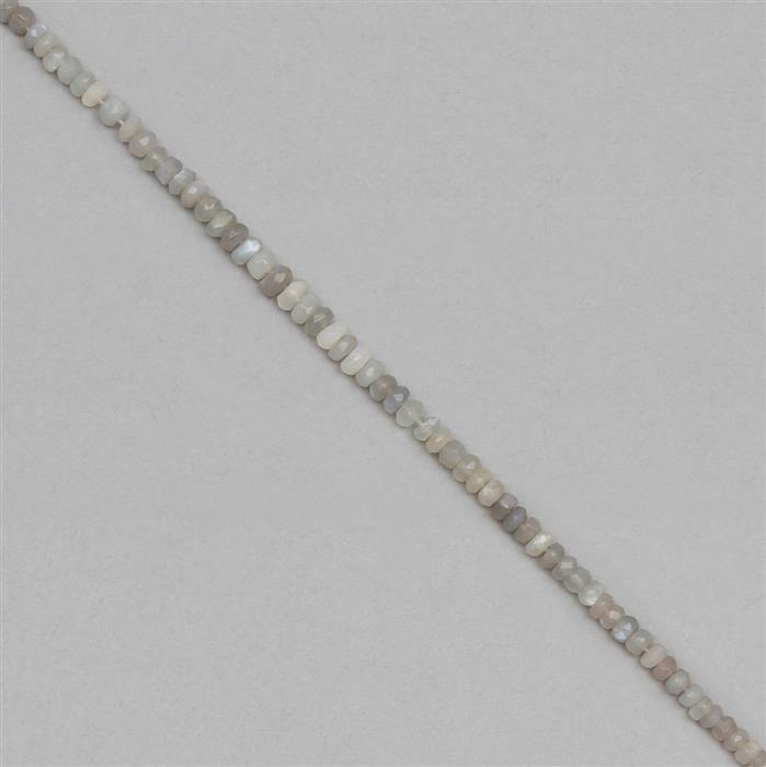 60cts Grey Moonstone Graduated Faceted Rondelles Approx 2x1 to 6x3mm, 30cm Strand.