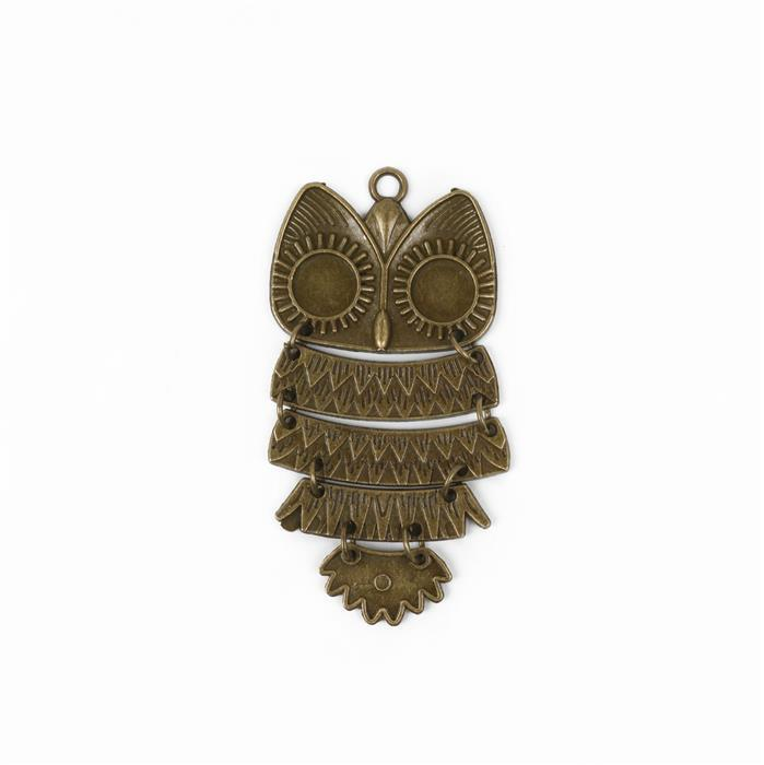 Oxidised Antique Bronze Plated Large Owl Charm - 80x40m