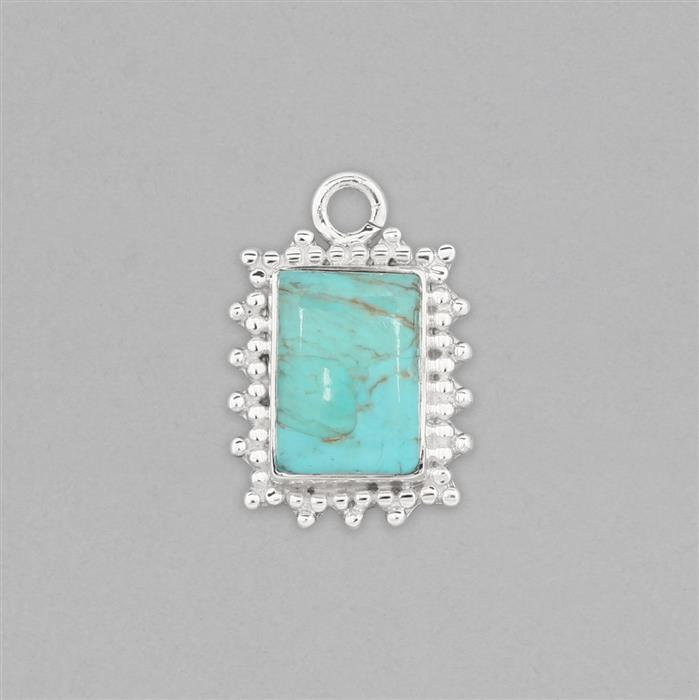 925 Sterling Silver Gemset Pendant Approx 25x17mm Inc. 5cts Turquoise Cushion Cabochon Approx 14x10mm